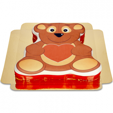 Taart in teddybeervorm met hart