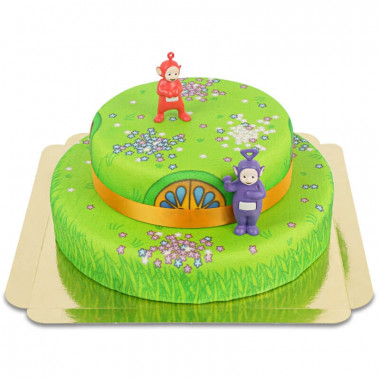 Teletubbies op een tweelaagse Bloemenweide taart