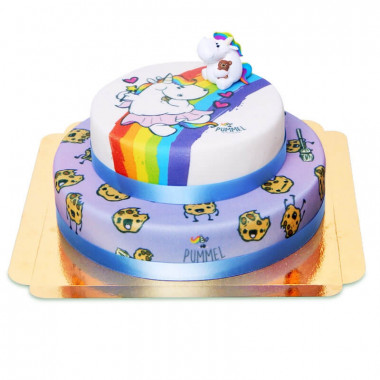 Chubby unicorn op twee-verdiepingen koekjes taart