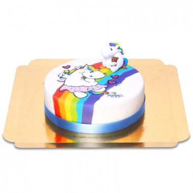 Chubby unicorn op regenboog taart