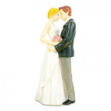 Taartenfiguur - knuffelend bruidspaar