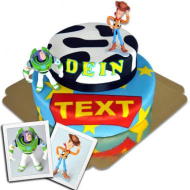 Cowboy Woody & Buzz Lightyear op twee-verdiepingen taart met lint