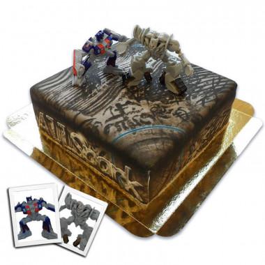 Transformers figuren - Optimus Prime vs Megatron op Allspark taart
