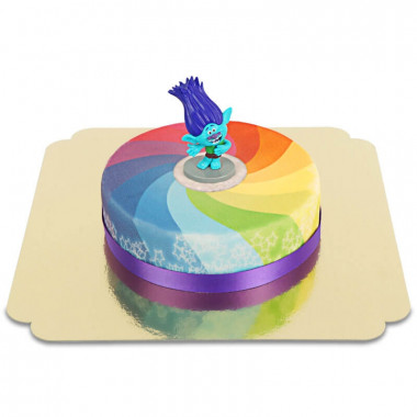Trolls op regenboog taart