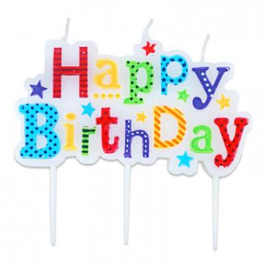 Leuke Happy Birthday taartkaarsen