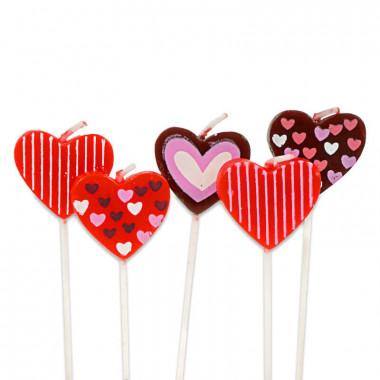 5 hartvormige taartkaarsen