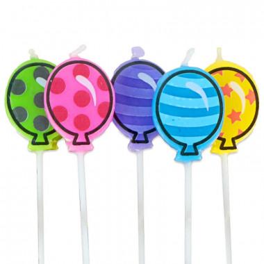 5 luchtballontaartkaarsen