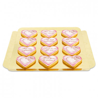 Valentijnsdag koekjes met liefdesboodschap - Roze (12 stuks)