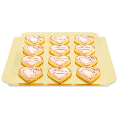 Valentijnsdag koekjes met liefdesboodschap - Rood (12 stuks)