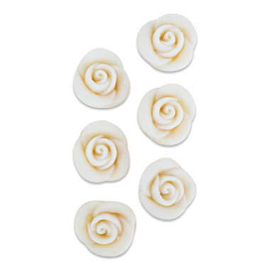 Marsepein roos wit, ca. 25 mm (6 stuks)