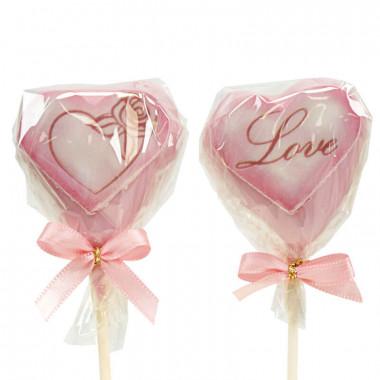Valentijnsdag hartvormige Cake Pops Roze (12 Stuks)