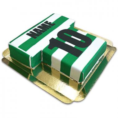 Voetbalshirt taart, horizontale strepen - verschillende kleuren