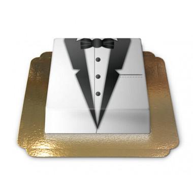Bruidegom's taart zwart-witte smoking