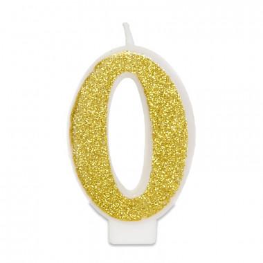Gouden cijferkaars 0, ca.6 cm