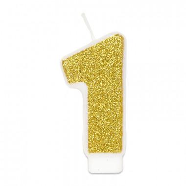 Gouden cijferkaars 1, ca.6 cm