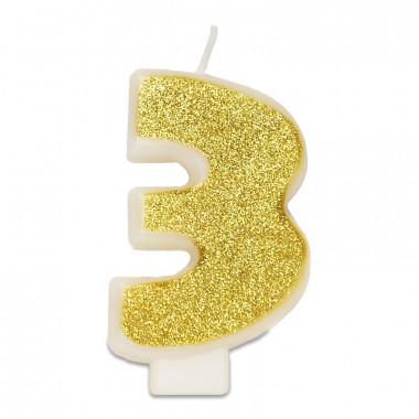 Gouden cijferkaars 3, ca.6 cm