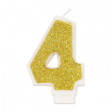 Gouden cijferkaars 4, ca.6 cm