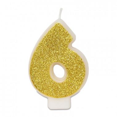 Gouden cijferkaars 6, ca.6 cm
