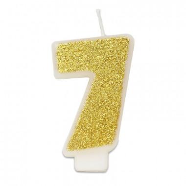 Gouden cijferkaars 7, ca.6 cm