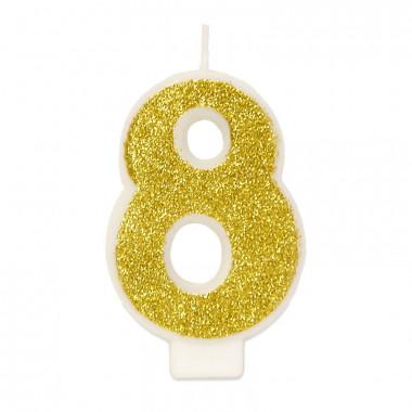Gouden cijferkaars 8, ca.6 cm