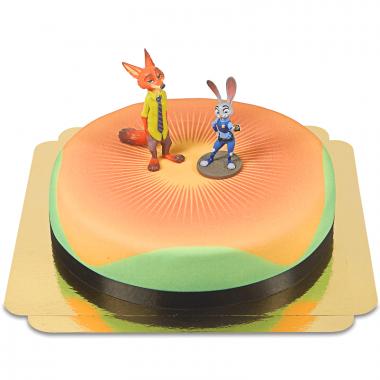 Zootropolis - Judy & Nick op taart, 26cm rund
