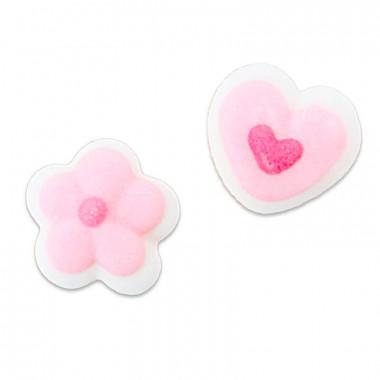 Roze mini suikerhartjes en bloemen, ca. 1 cm (24 stuks)