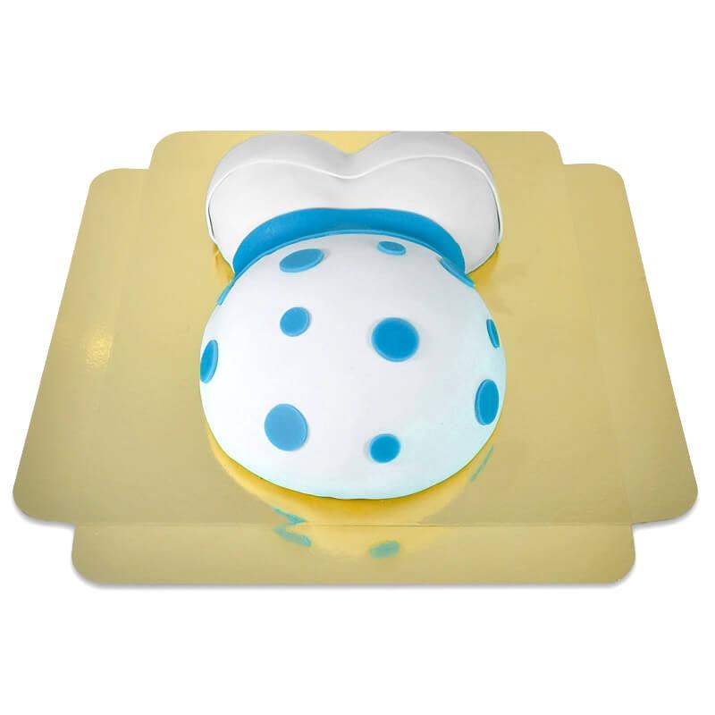 tort brzuszek z niebieską wstążką
