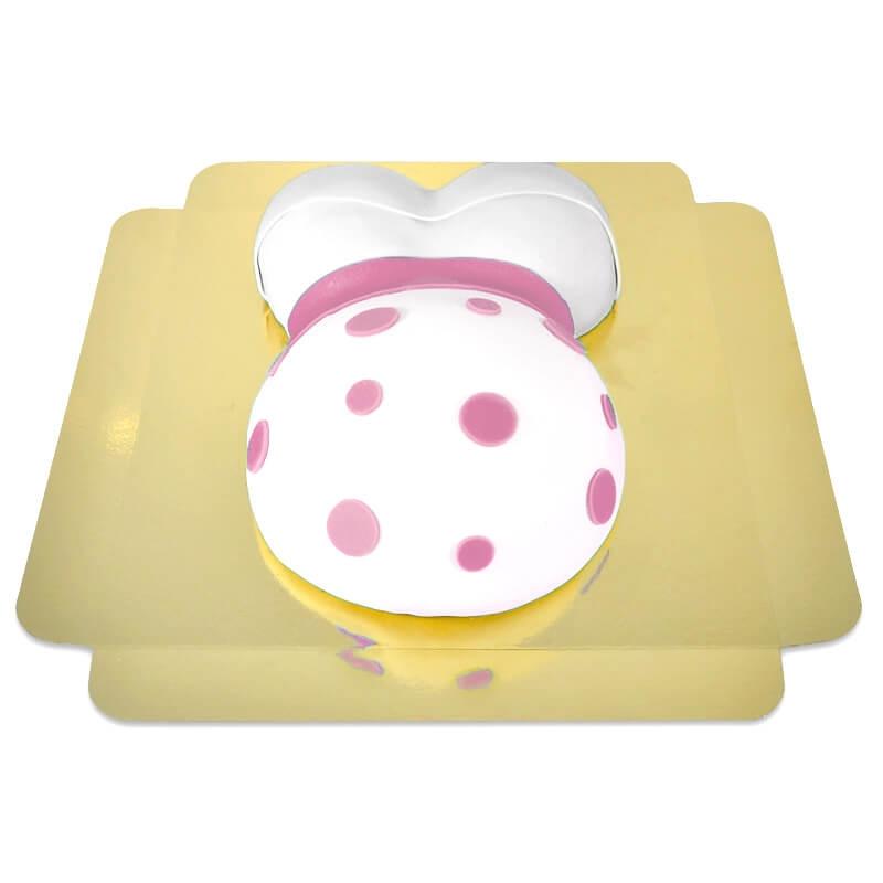 tort brzuszek w różowe kropeczki