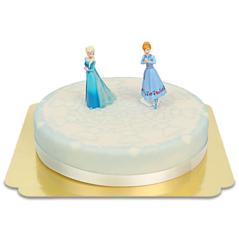 Frozen Anna & Elsa op sneeuwvlok taart