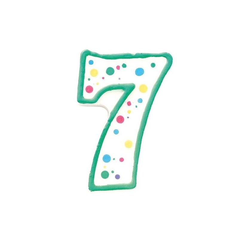 Zielona świeczka z cyfrą 7, ok. 7,5 cm