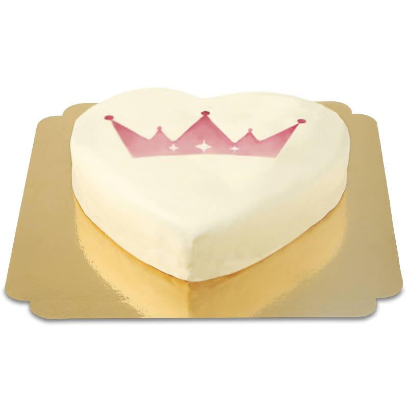 Tort w kształcie serca z logiem