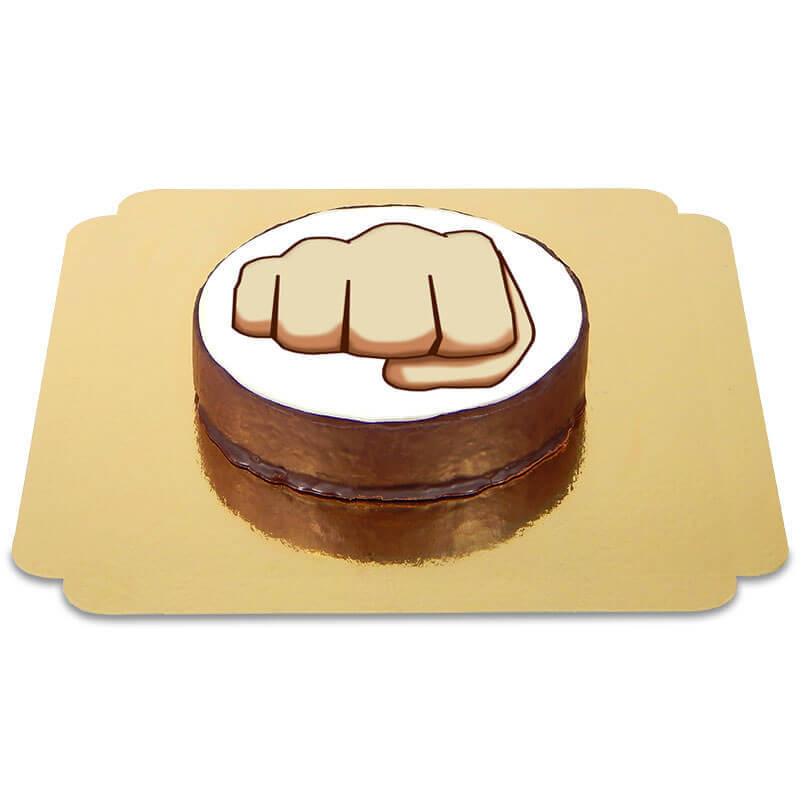 Tort czekoladowy z emotikonką - pięść