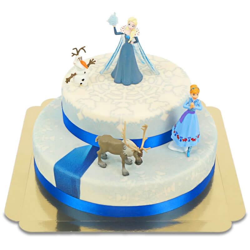 Księżniczka Elsa, Anna i Olaf na dwupiętrowym torcie
