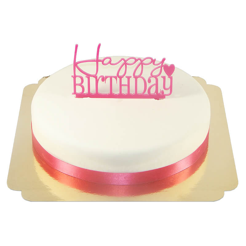 Ozdoba na tort - Happy Birthday, różowa