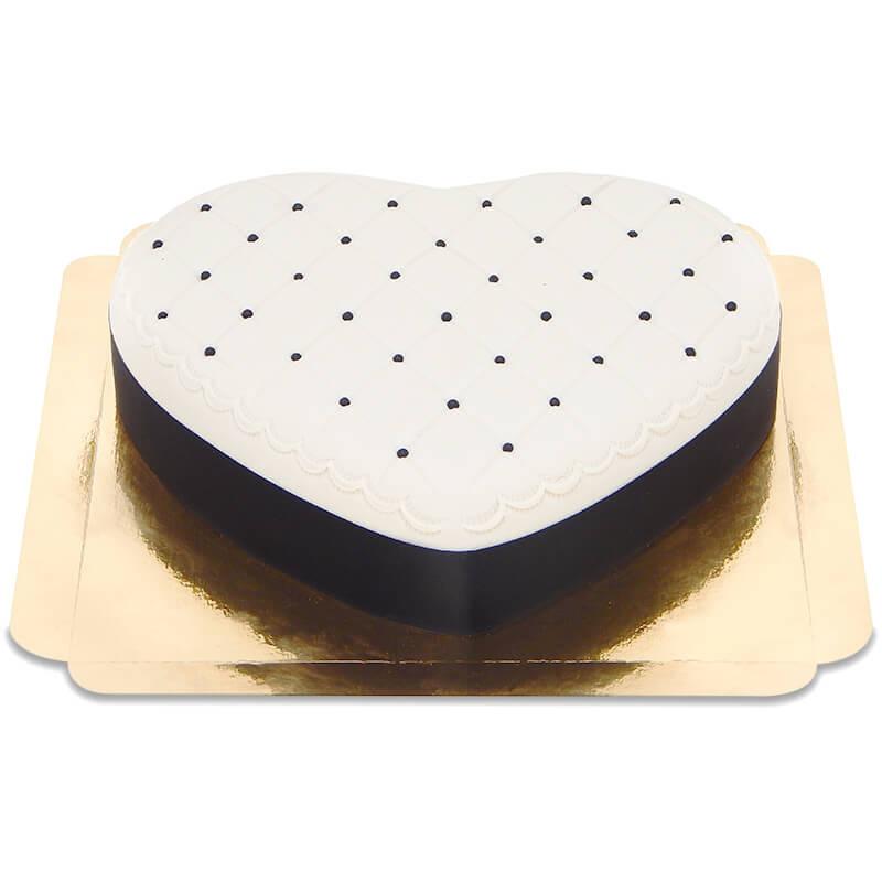 Tort walentynkowy Delux w kształcie serca czarno-biały