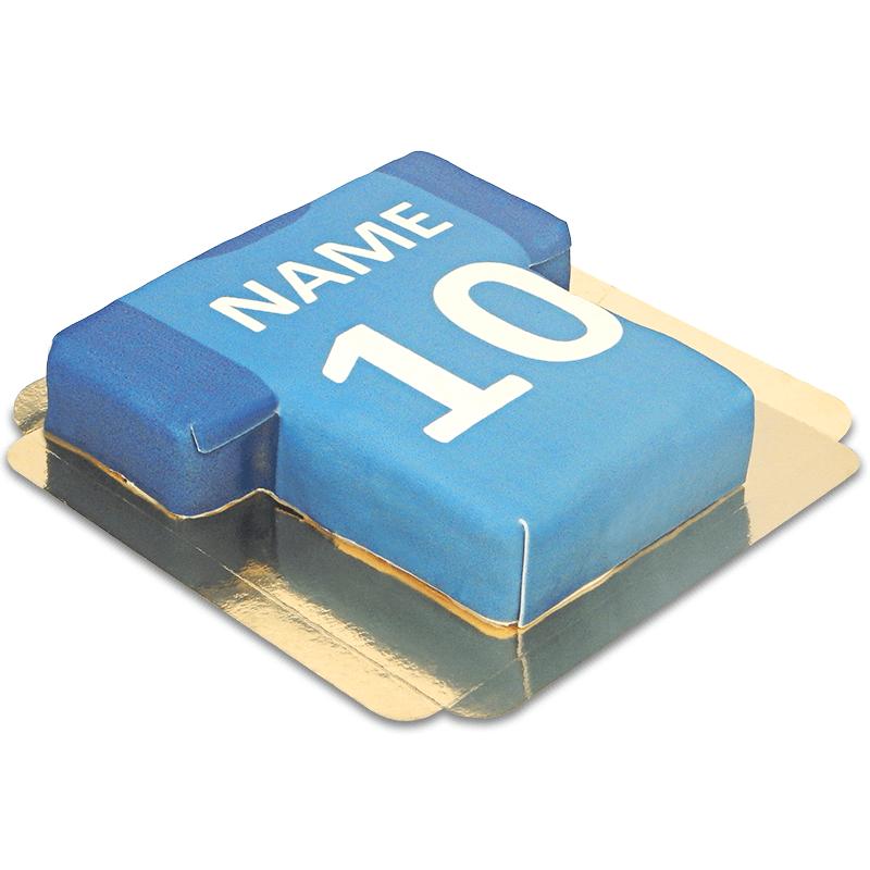 Fußballtrikot-Torte, blau mit dunkelblauen Ärmeln
