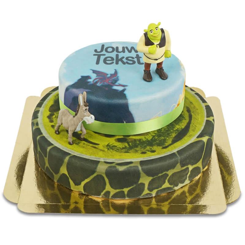 Shrek en ezel op sprookjestaart met twee verdiepingen