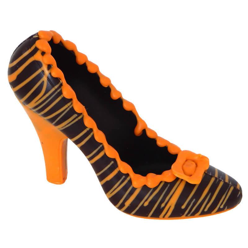 Ciemny czekoladowy pantofelek w pomarańczowe paseczki