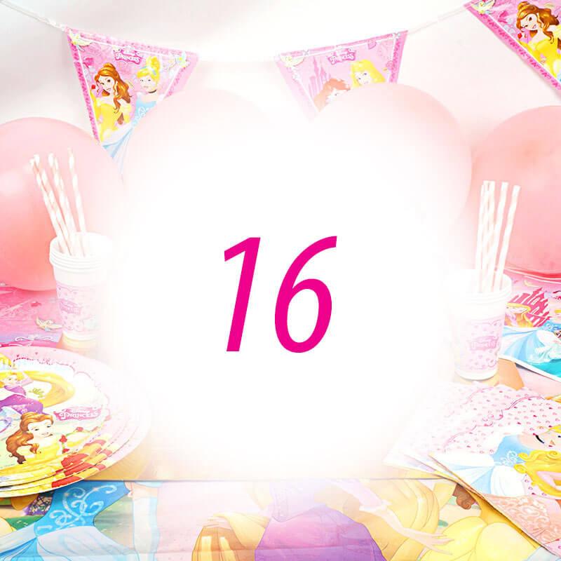 Partyset Prinsessen voor 16 kinderen - enkel decoratie, zonder taart