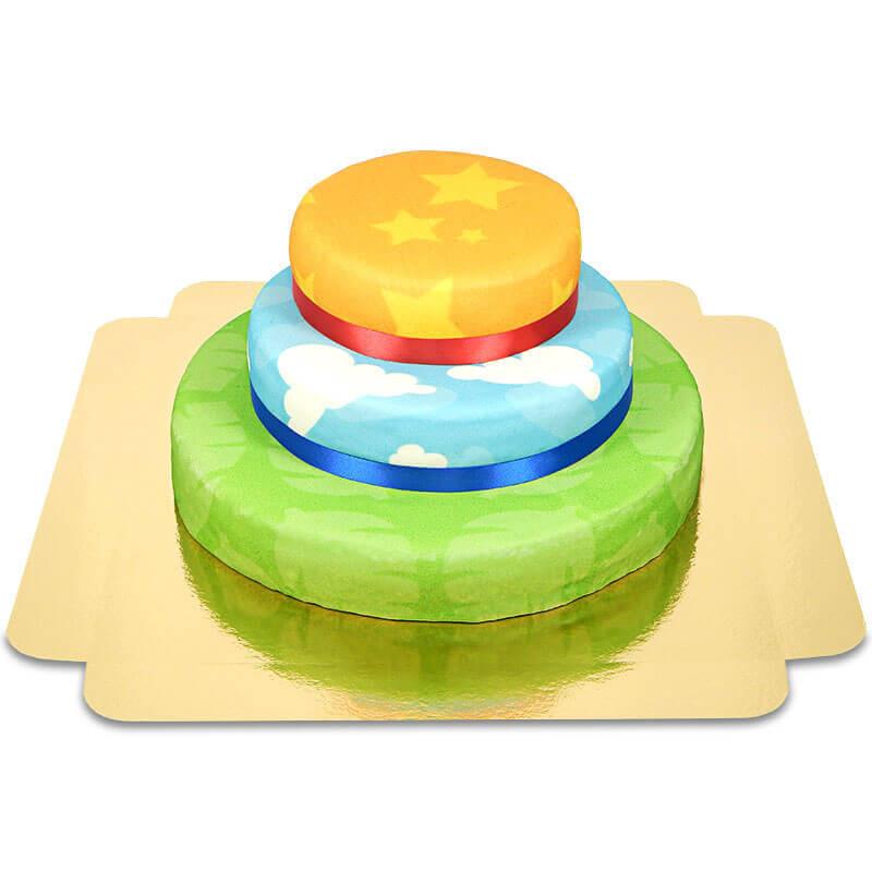 Kombinacja tortów ze wzorem safari, w chmurki i w gwiazdki