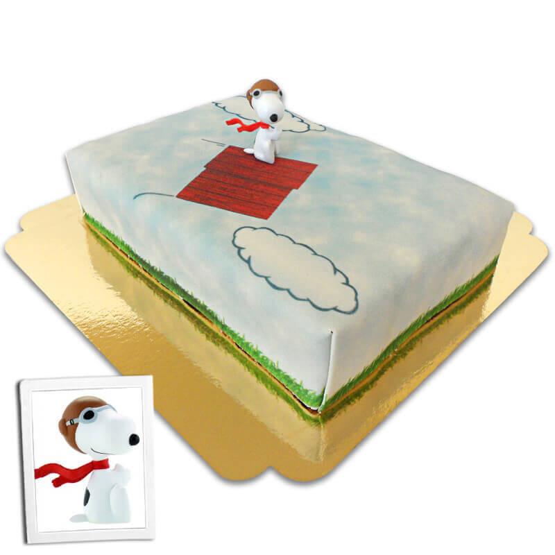 Snoopy op vliegend hondenhok taart