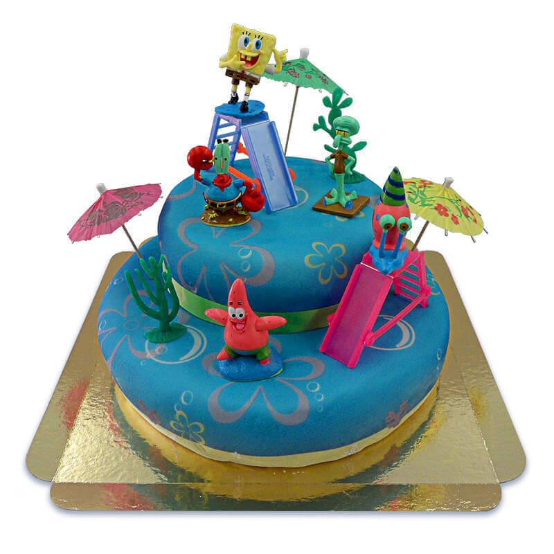 Spongebob auf zweistöckiger Meeres-Torte mit Band