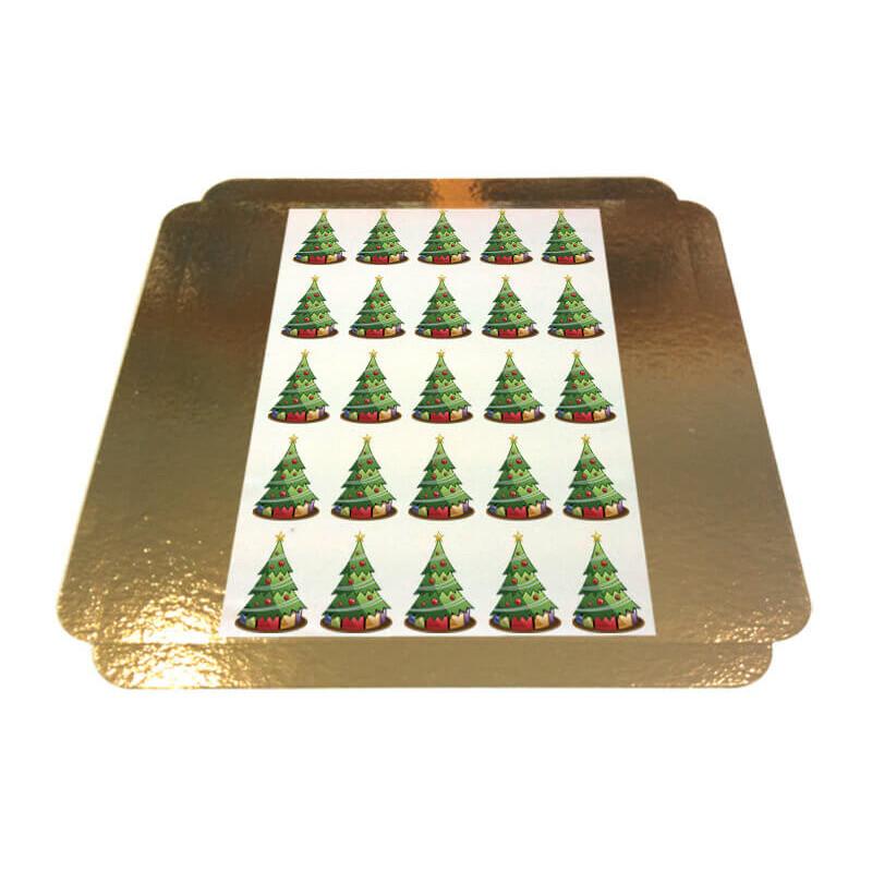 Eetbare print - kerstbomen 5x5cm
