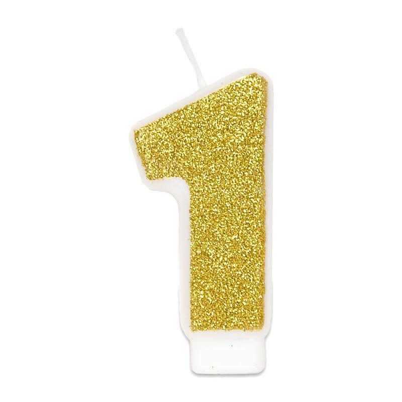 Złota świeczka z cyfrą 1
