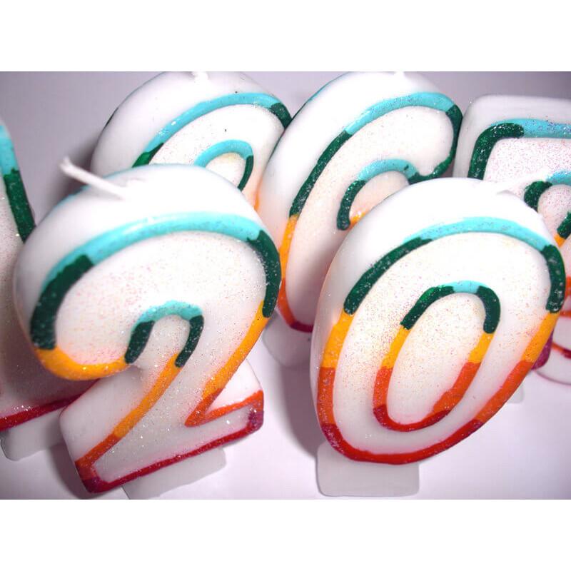 Gekleurde cijferkaars 0, ca.7,5 cm